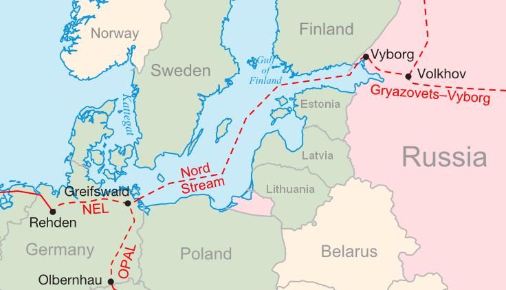 Die Ostsee-Pipeline beginnt im russischen Wyborg und erreicht Deutschland in Lubmin bei Greifswald.