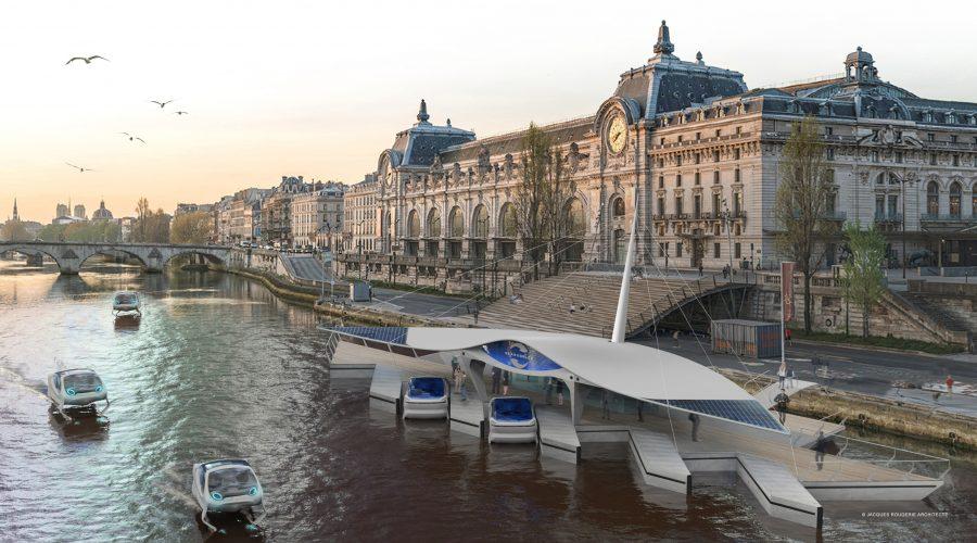 So könnten die SeaBubble-Docks in der Pariser Innenstadt aussehen. Bild: Seabubbles.fr
