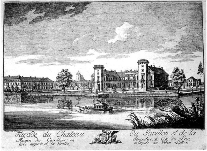 Kupferstich: Blick auf Schloss Rheinsberg